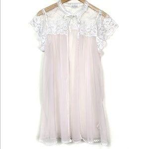 Vintage 60s Miss Elaine Pink Sheer Lace Short Robe